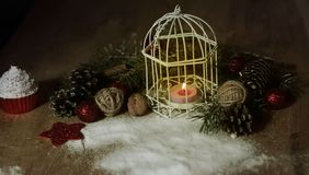 Christmas card.vintage Christmas candle on festive background . Photo with copy space Stock Image