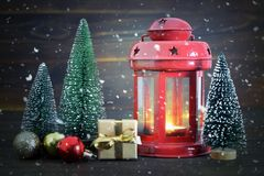 Christmas card with vintage Christmas lantern. Christmas card with red vintage Christmas lantern Stock Photography