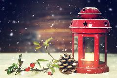 Christmas card with vintage Christmas lantern Royalty Free Stock Images