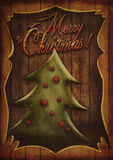 Christmas card - Vintage Christmas tree in wooden frame Royalty Free Stock Photo