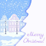 Christmas card with vintage city views Stock Images
