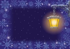 Christmas card: vintage lamp and snowflakes Stock Images
