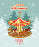 Christmas card with vintage merry-go-round, christmas tree and snowflakes. Stock Images