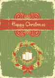 Christmas card.Vintage red green background Royalty Free Stock Photos