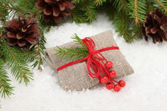 Christmas card: Vintage rural gift Stock Image