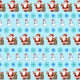 Christmas card. Christmas vintage seamless pattern with cartoon Santa, snowmen and birds Royalty Free Stock Photo