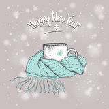 Christmas card. Vintage sketch of cup in a scarf. ?up on the background of Christmas snow. Vector illustration Stock Photos