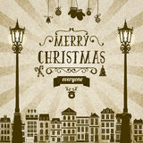 Christmas card. Vintage square monochrome brown-white retro Christmas card with grange retro background, design elements, lights, santa claus . For book cover Royalty Free Stock Image