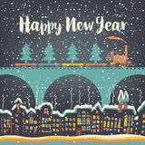 Christmas card with a vintage steam. Train rides on the bridge over the old city in the winter landscape and christmas tree Stock Images