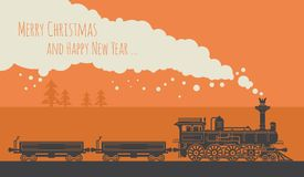 Christmas card with a vintage steam train vector illustration