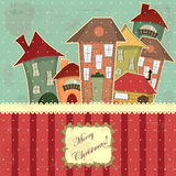 Christmas card in vintage style Stock Photos