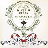Christmas card in vintage style with flourishes. Merry Christmas Royalty Free Stock Photo