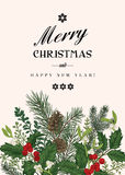 Christmas card in vintage style. Stock Photos