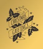 Christmas Card in Vintage Style. Hand drawn design elements. Handwritten modern badge. Holidays Vector illustration Royalty Free Stock Photos