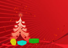 Christmas card/ wallpaper. With christmas tree, gift boxes and curves Royalty Free Stock Photo