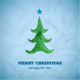 Christmas card with watercolor Christmas tree Royalty Free Stock Photo