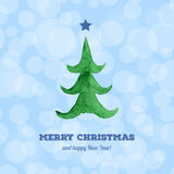 Christmas card with watercolor Christmas tree Royalty Free Stock Images