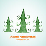 Christmas card with watercolor Christmas trees Stock Photo