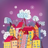 Christmas card with whimsical houses Royalty Free Stock Photography