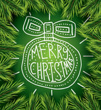 Christmas card with white ball on green background and pine bran Royalty Free Stock Images