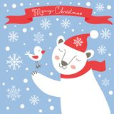 Christmas card with white bear and bird Royalty Free Stock Images