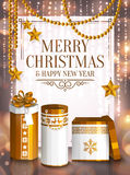 Christmas card. White and golden wrapped gift boxes, stars, pearls. Background with bokeh lights. Vector. Stock Image
