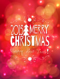 Christmas card. White Merry Christmas lettering design  in hand - drawn frame on red  bokeh background with lights Royalty Free Stock Images