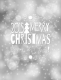 Christmas card. White Merry Christmas lettering design  in hand - drawn frame on silver bokeh background with lights Stock Image