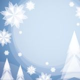 Christmas Card With White Paper Snowflake. And Fir-Tree Royalty Free Stock Images