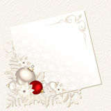 Christmas card with white and red decorations. Vector eps-10. Royalty Free Stock Photography