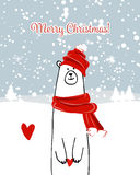 Christmas card with white santa bear Royalty Free Stock Photo