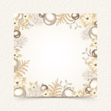 Christmas card with white and silver decorations. Vector eps-10. Royalty Free Stock Image