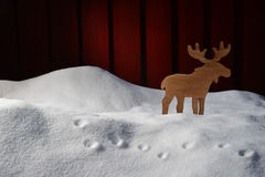 Christmas Card On White Snow With Moose And Copy Space Stock Image