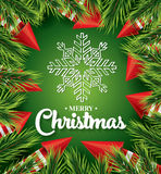 Christmas card with white snowflake on green background Royalty Free Stock Photos