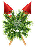 Christmas card with white snowflake, pine branch and red rockets Royalty Free Stock Image