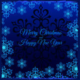 Christmas card with white snowflakes around Stock Images