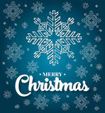 Christmas card with white snowflakes on blue background. Royalty Free Stock Photo