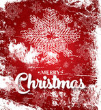Christmas card with white snowflakes on red background. Stock Photos