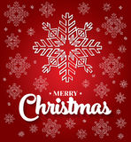 Christmas card with white snowflakes on red background. Royalty Free Stock Images