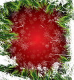 Christmas card with white snowflakes on red background Stock Image