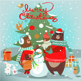 Christmas card with wild animals. Christmas card with wild cartoon animals vector illustration