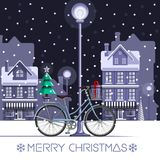 Winter bike with New Year tree and gift box. Christmas card. Winter bike with New Year tree and gift box. Merry Christmas. Festive background with decorated Royalty Free Stock Photos