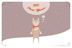 Christmas card of winter cat or a fox with scarf Stock Photography