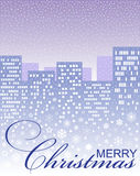 Christmas card with a winter city. Christmas card with the image of a blue winter city, snowflakes, an inscription on a violet background Stock Images