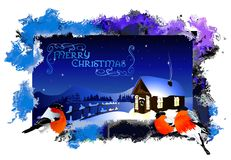Christmas card with a winter landscape in abstract frame (vector) Stock Image