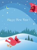 The Christmas card with winter landscape and the couple of cardinals. The vector picture. EPS 8 Royalty Free Stock Photography