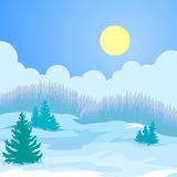 Christmas card winter landscape. Royalty Free Stock Images