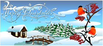 Christmas card with a winter landscape. (Vector) Royalty Free Stock Photos