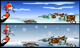 Christmas card with a winter landscape. (Vector) Royalty Free Stock Image