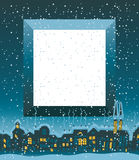 Christmas card. With winter old city and place for an inscription vector illustration